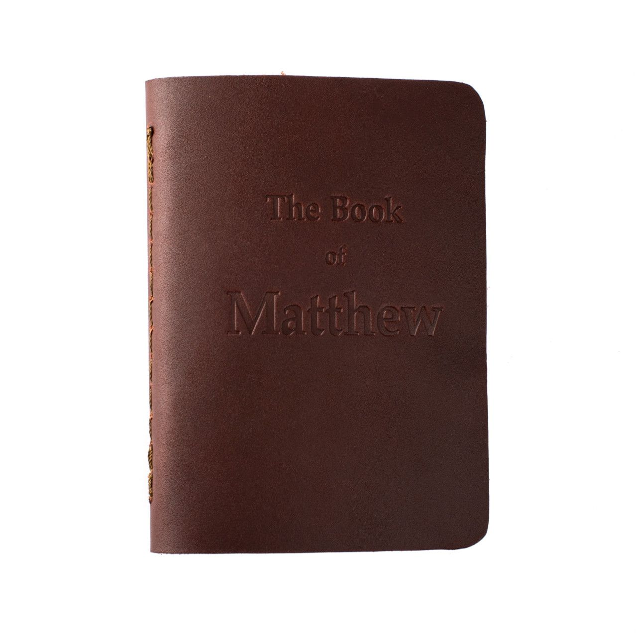 leather book of matthew in chestnut leather