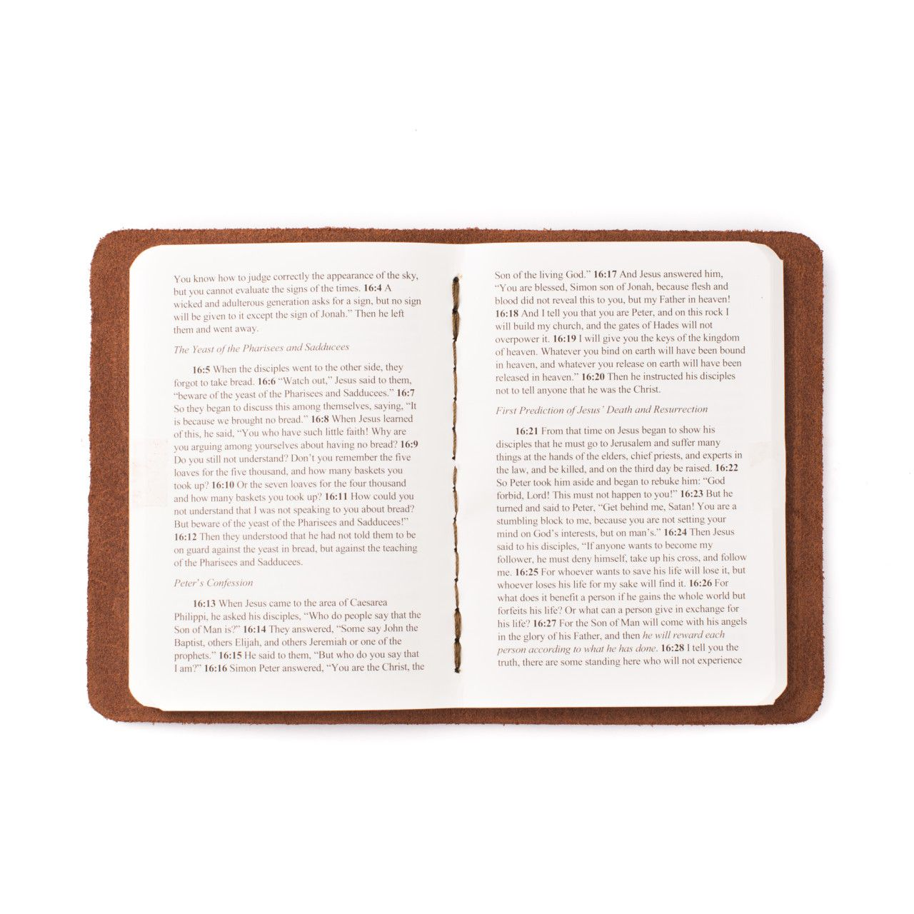 leather book of matthew in chestnut leather with the gospel