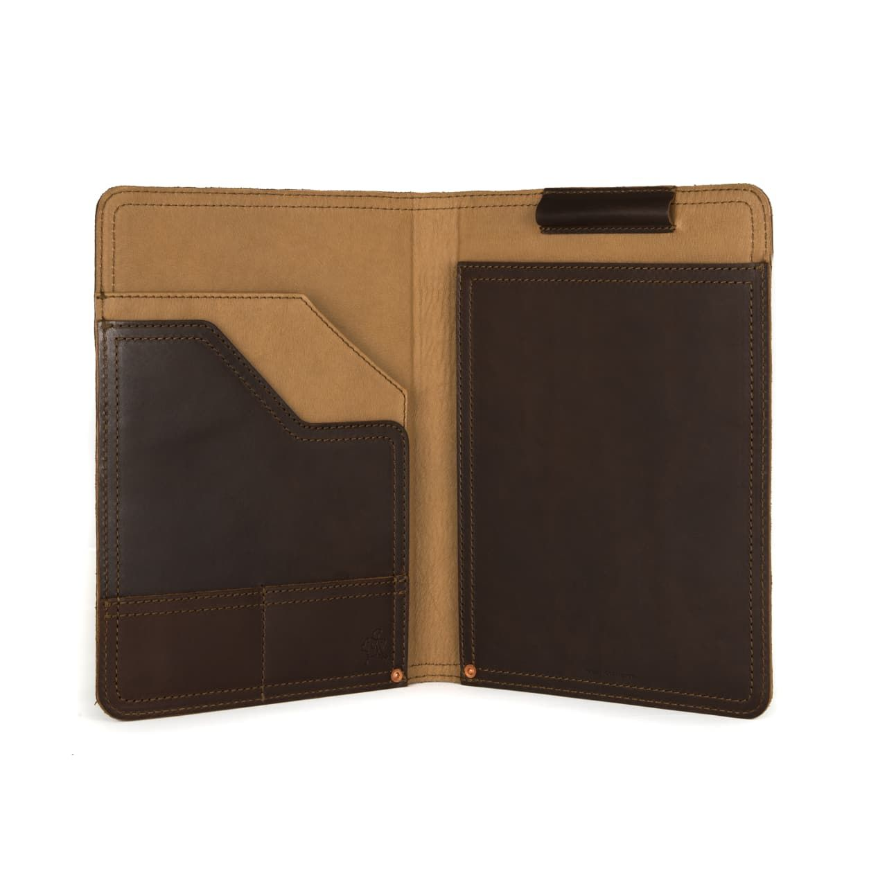 leather notepad cover medium in dark coffee brown leather