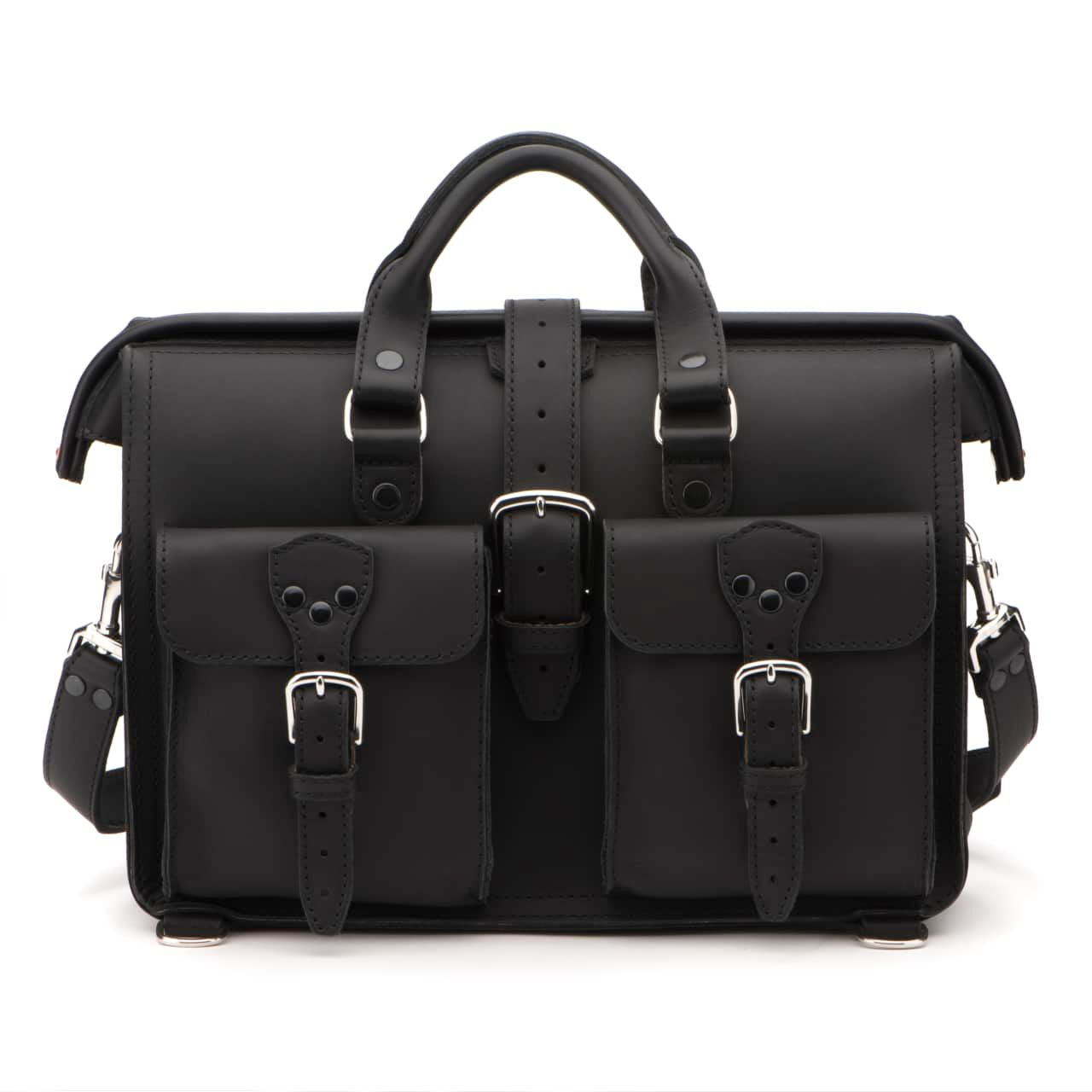 Leather Flight Bag in color Black shown from the Front