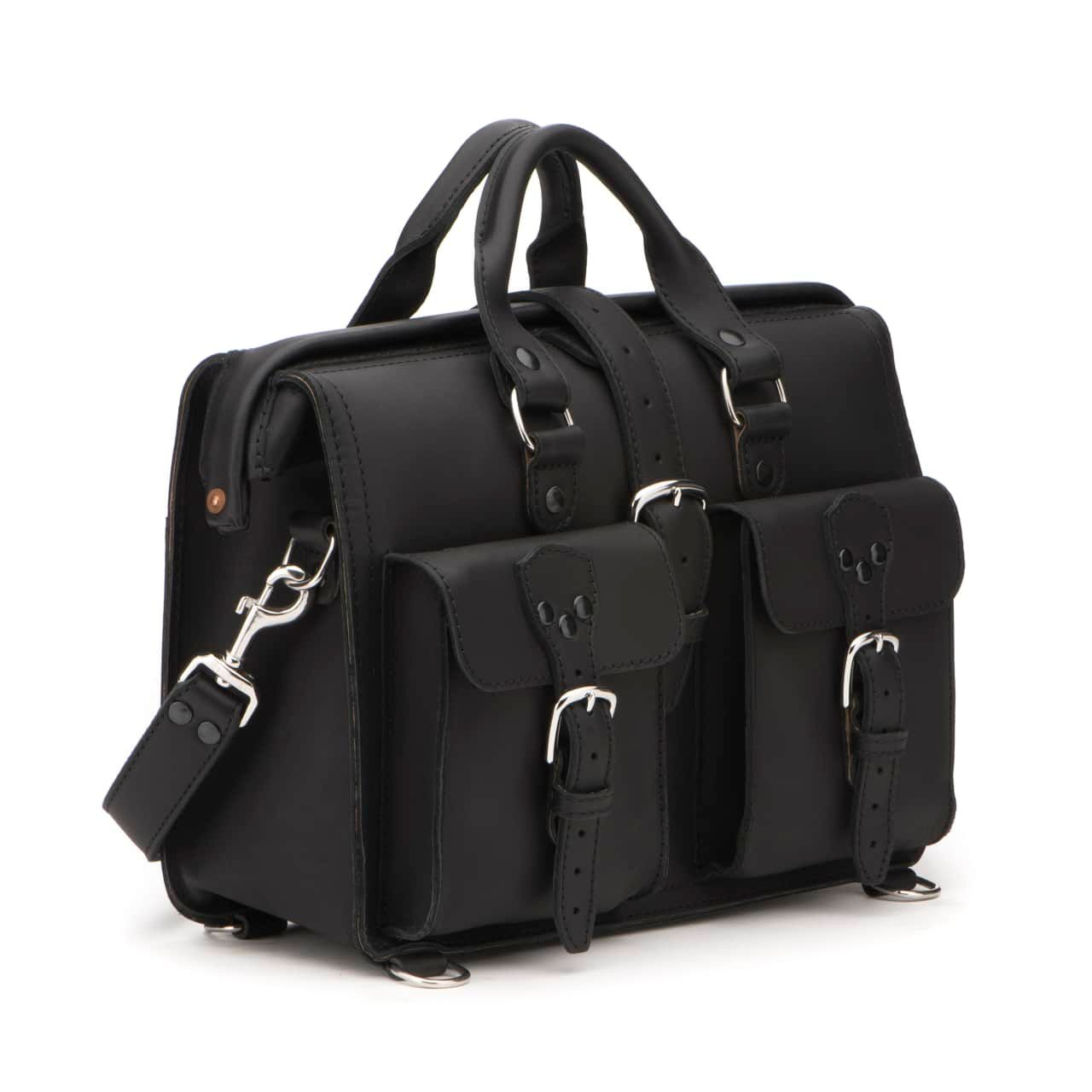Leather Flight Bag in color Black shown from the Front at an Angle