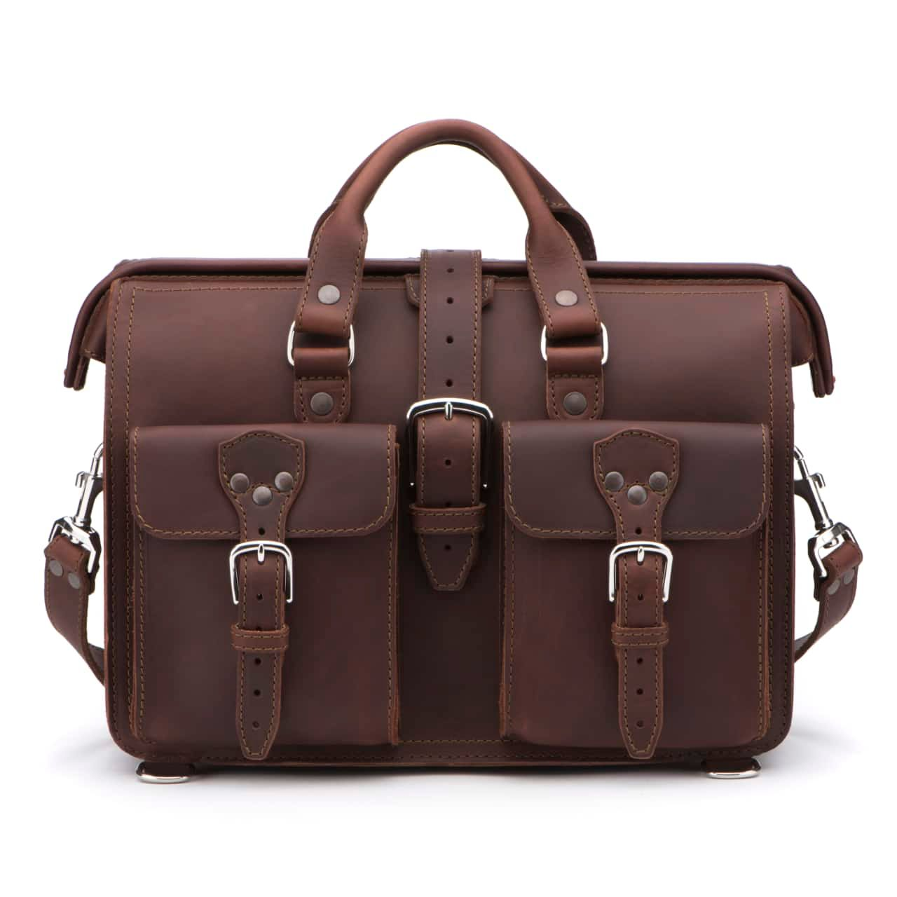 Leather Flight Bag in color Chestnut shown from the Front