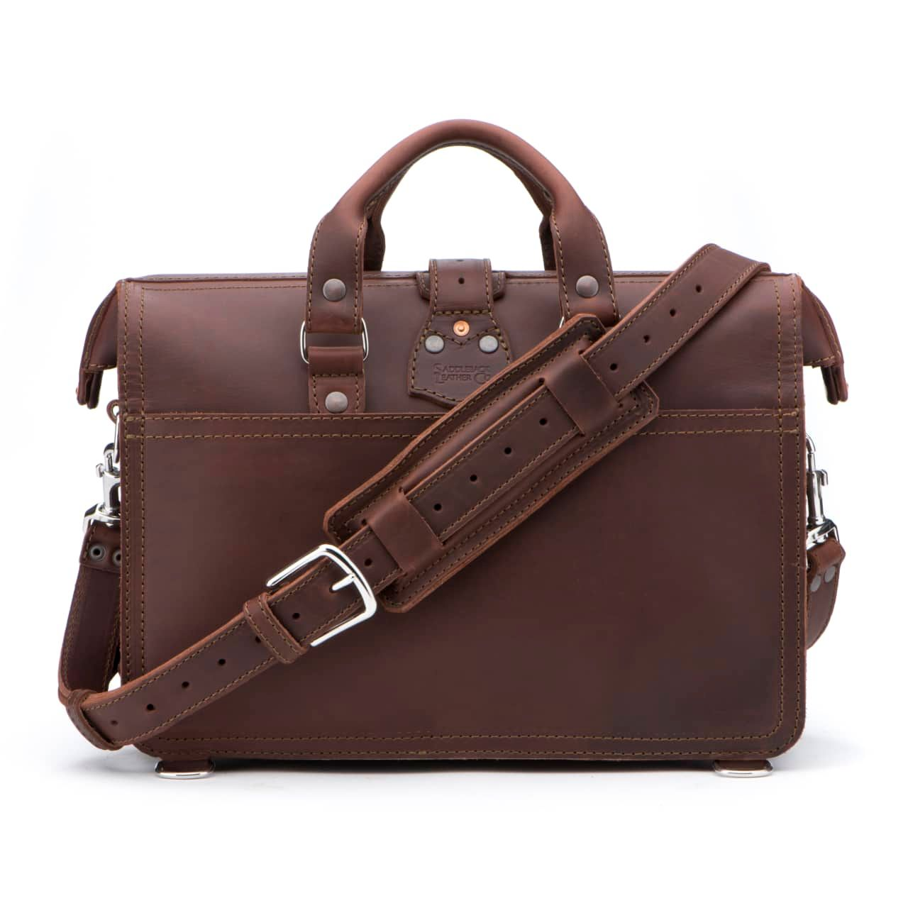 Leather Flight Bag in color Chestnut shown from the Back with the Shoulder Strap