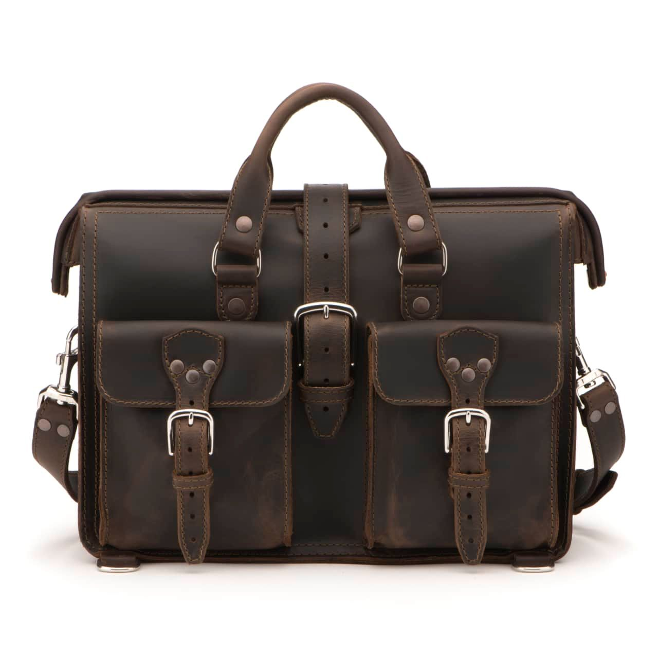Leather Flight Bag in color Dark Coffee Brown shown from the Front