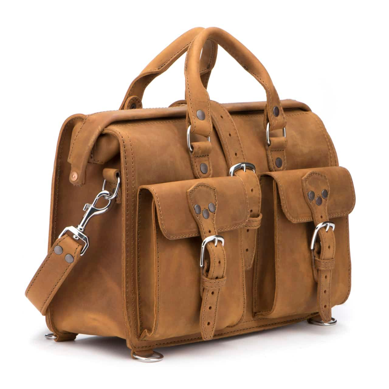 Leather Flight Bag in color Tobacco shown from the Front at an Angle