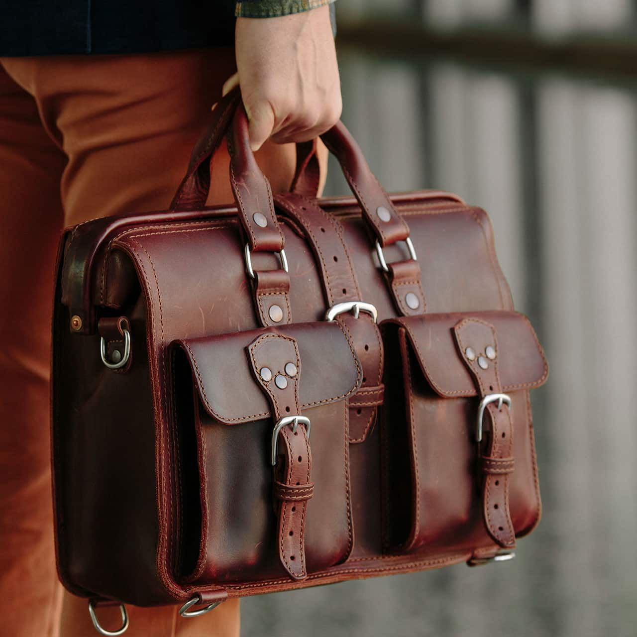 Leather Flight Bag being Carried by the Handles