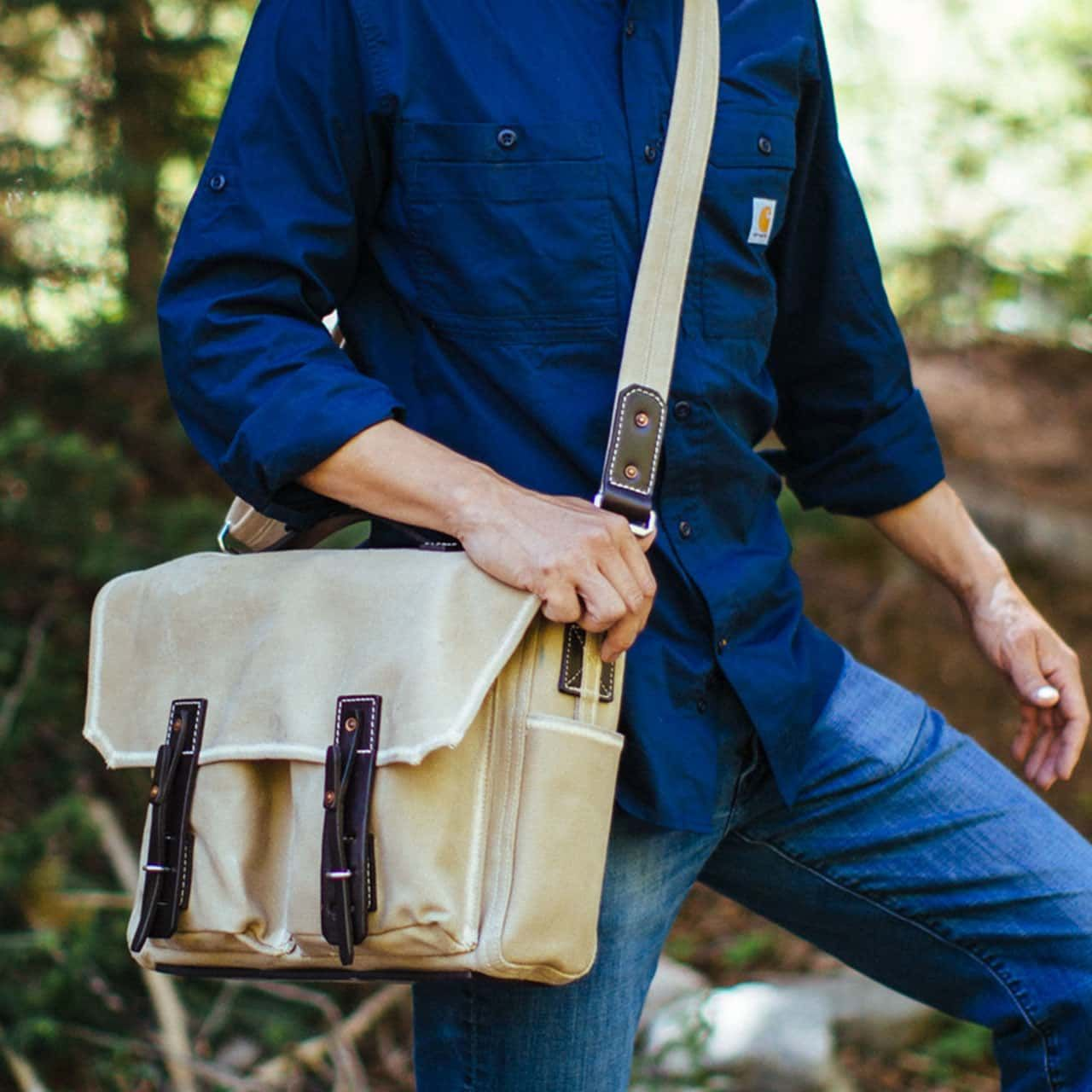Front Pocket Gear Bag in Color Sand worn cross body