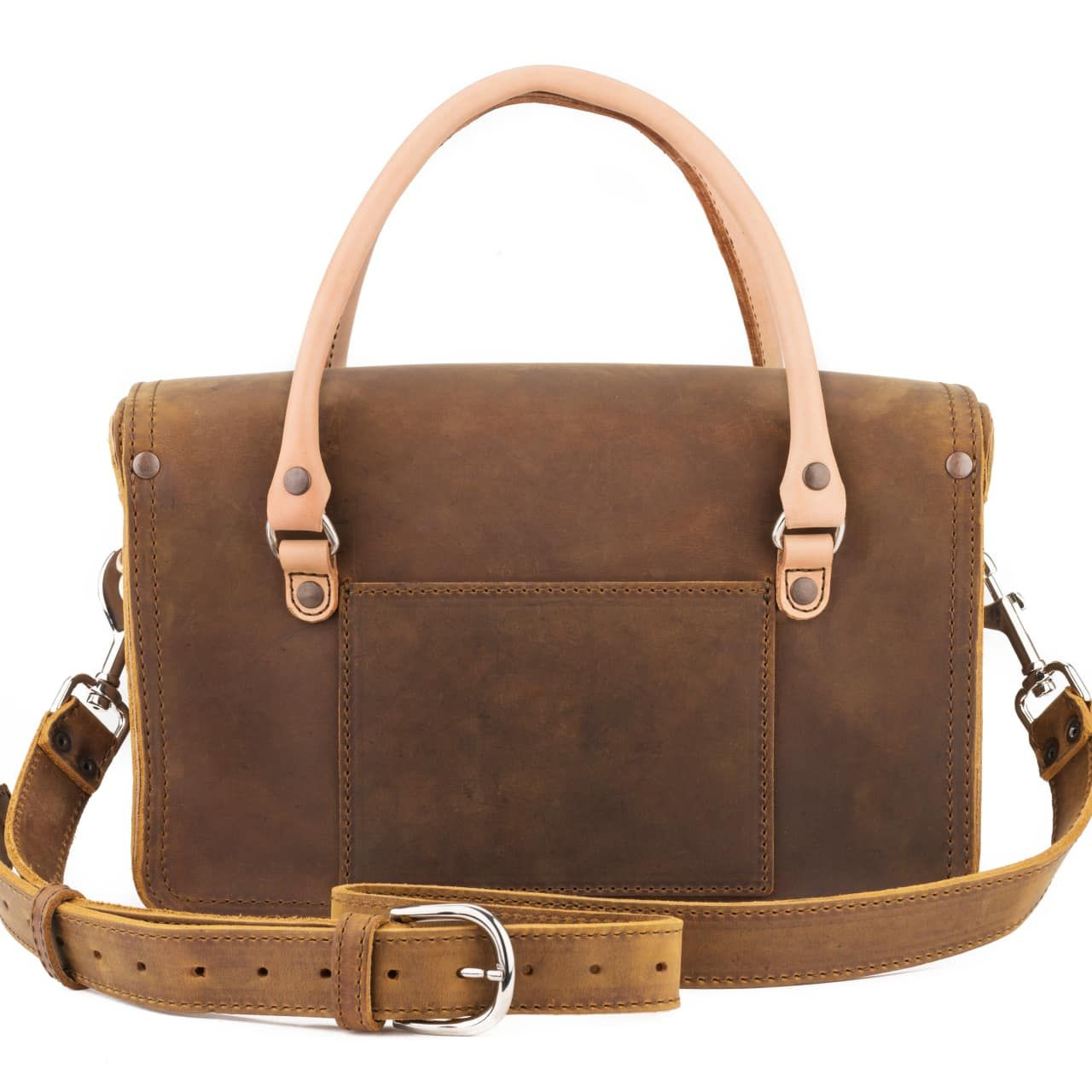 leather satchel purse in tobacco leather