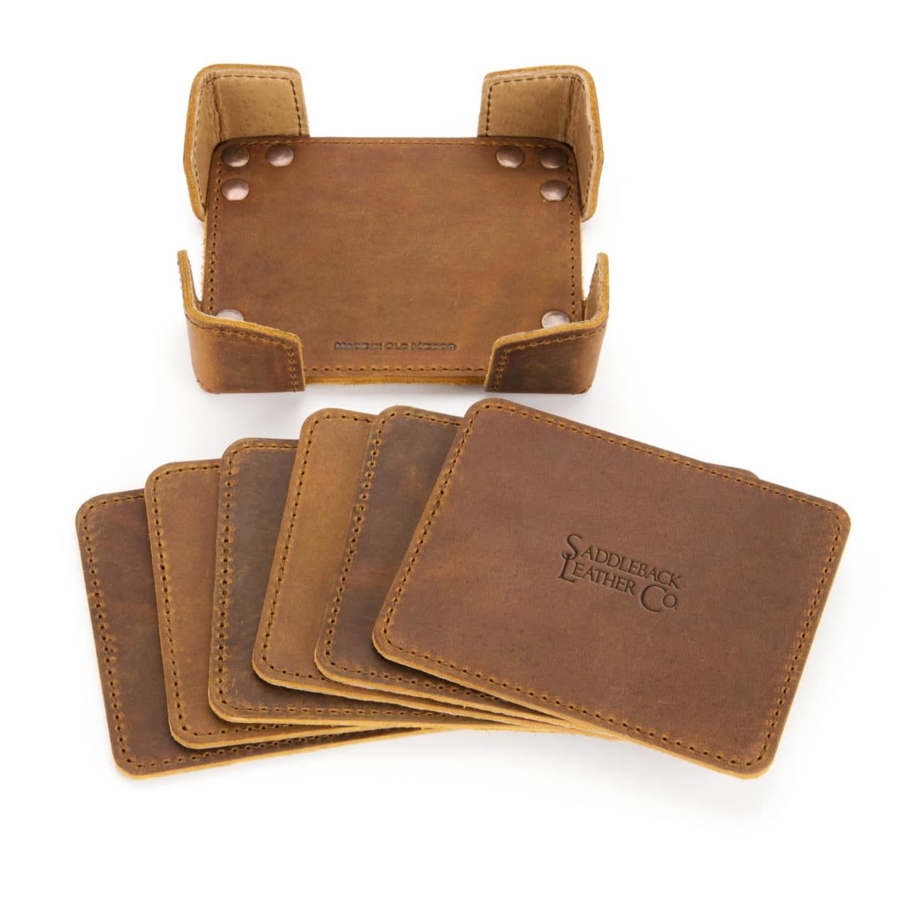 leather coaster set in tobacco leather