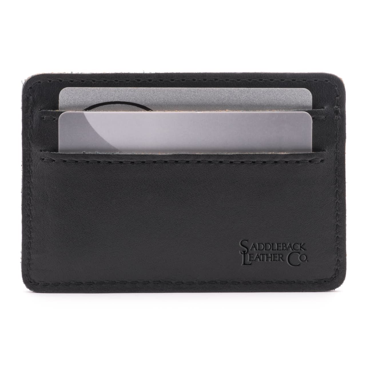 leather front pocket wallet in black leather