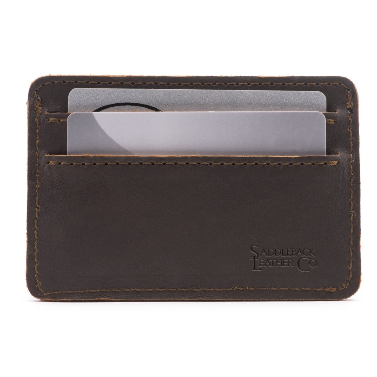 leather front pocket wallet in dark coffee brown leather
