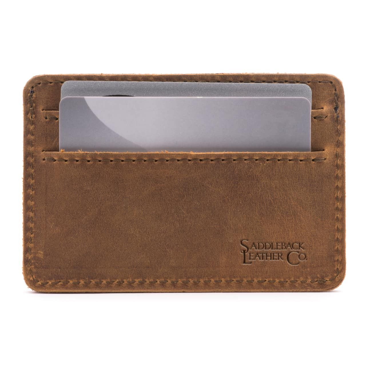 leather front pocket wallet in tobacco leather