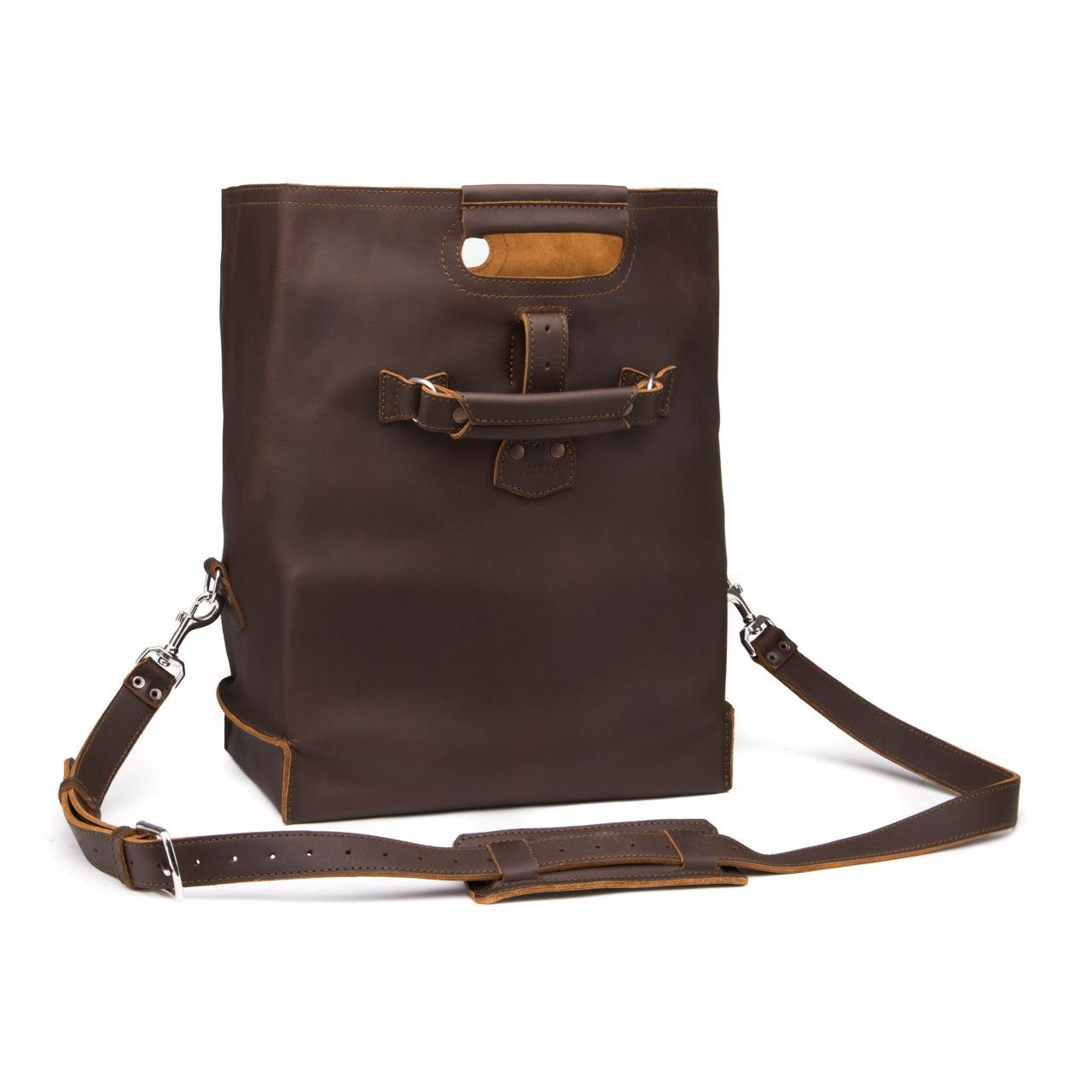 leather overnight bag large in dark coffee brown leather