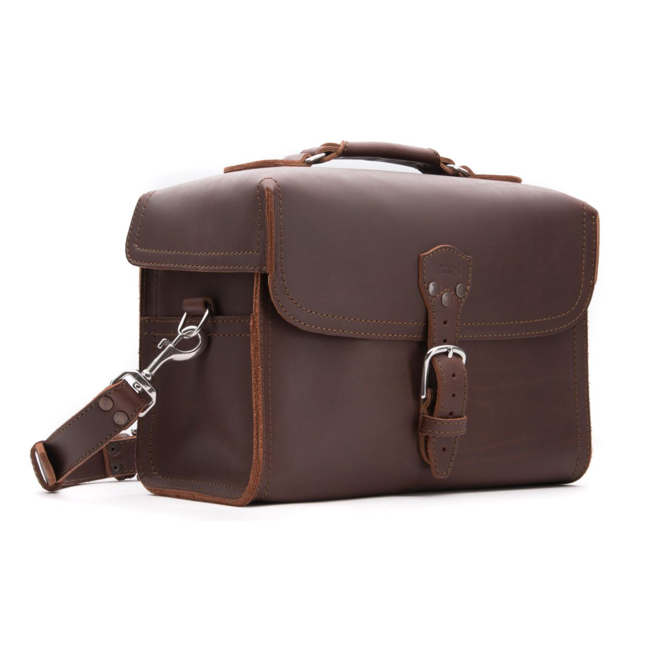leather gadget bag large in chestnut leather