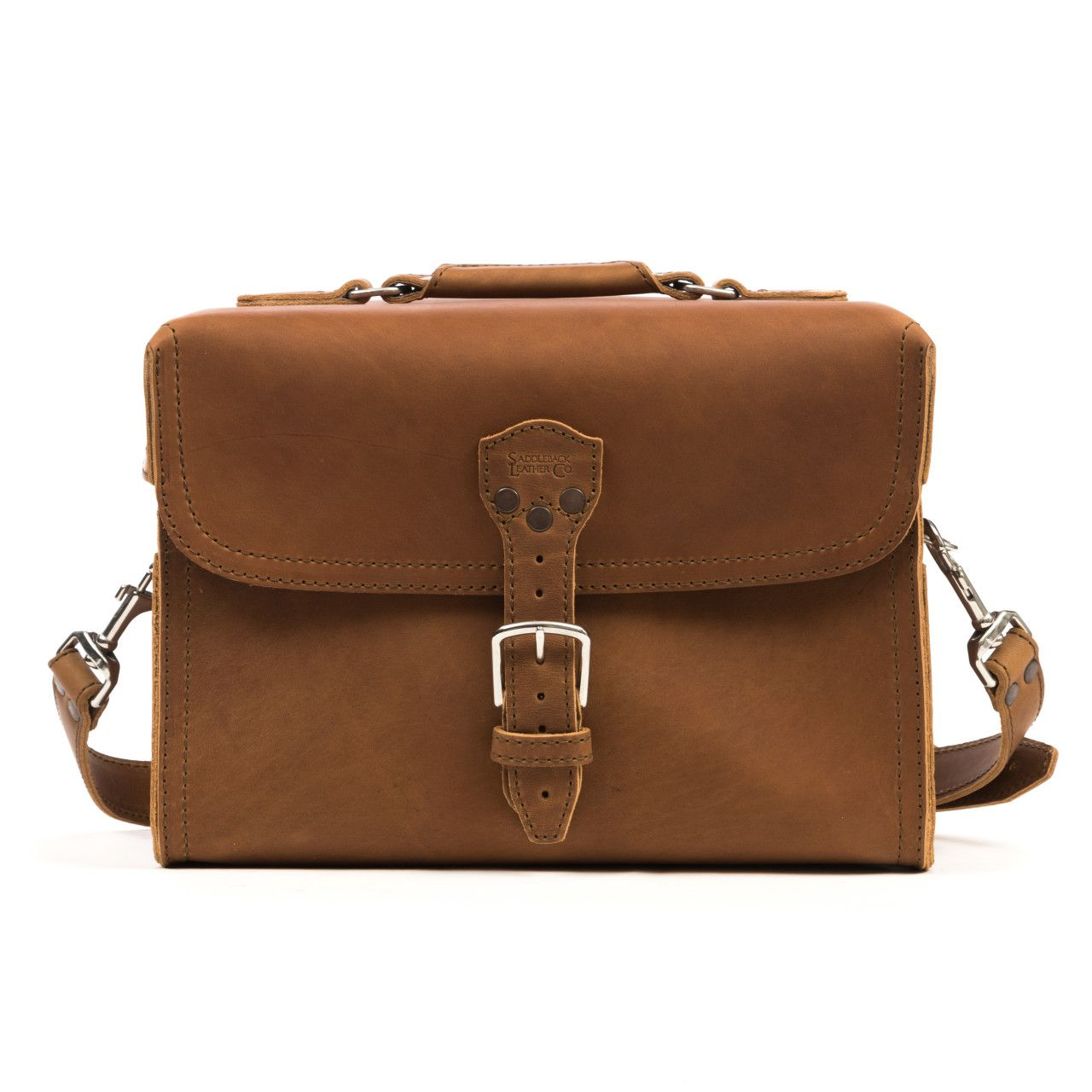 leather gadget bag large in tobacco leather
