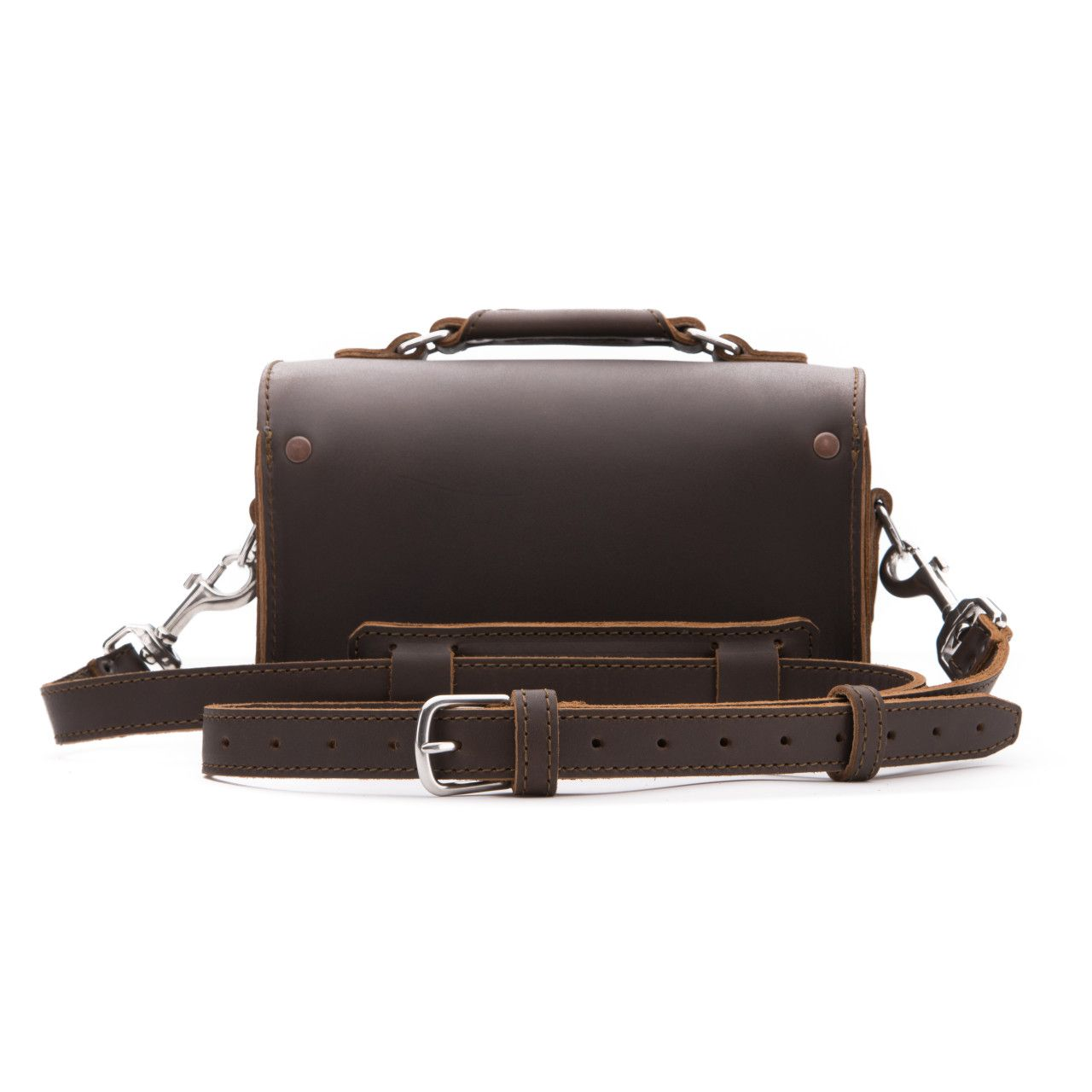 leather travel case medium in dark coffee brown leather