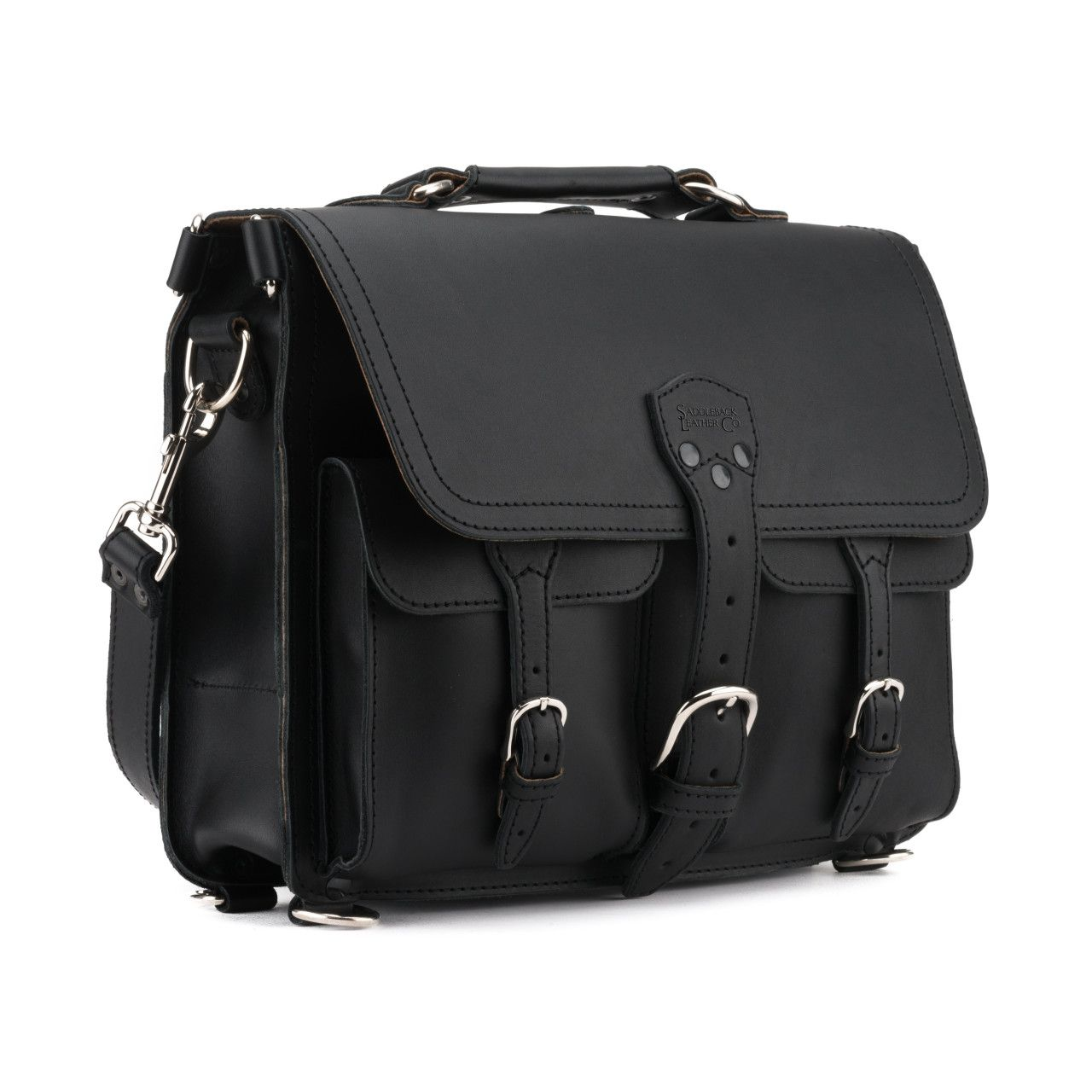thin front pocket leather briefcase medium in black leather
