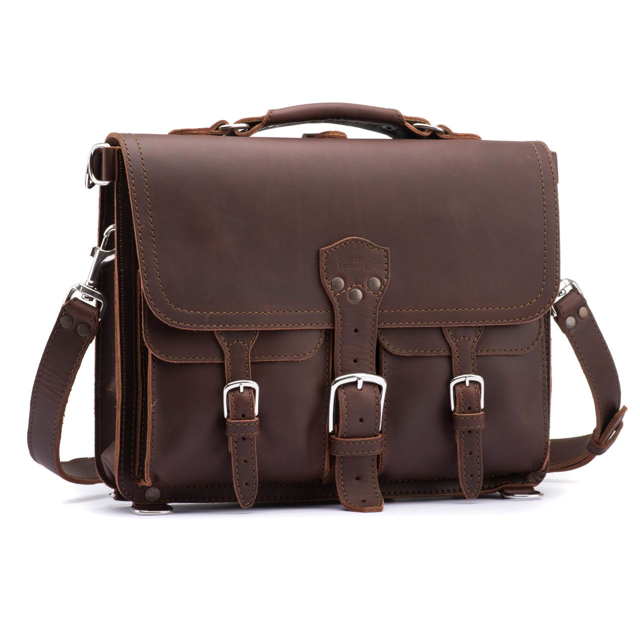 thin front pocket leather briefcase medium in chestnut leather