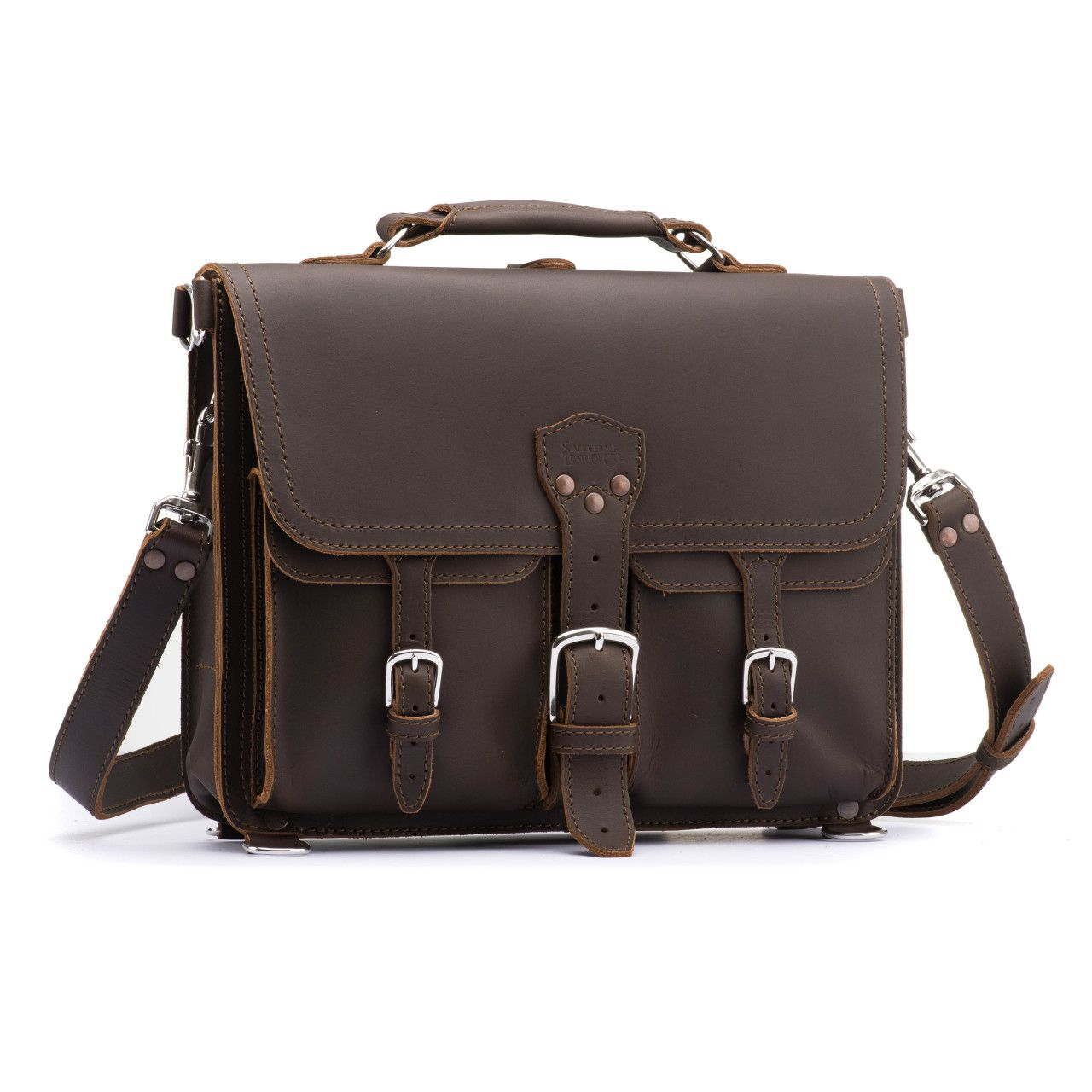 thin front pocket leather briefcase medium in dark coffee brown leather