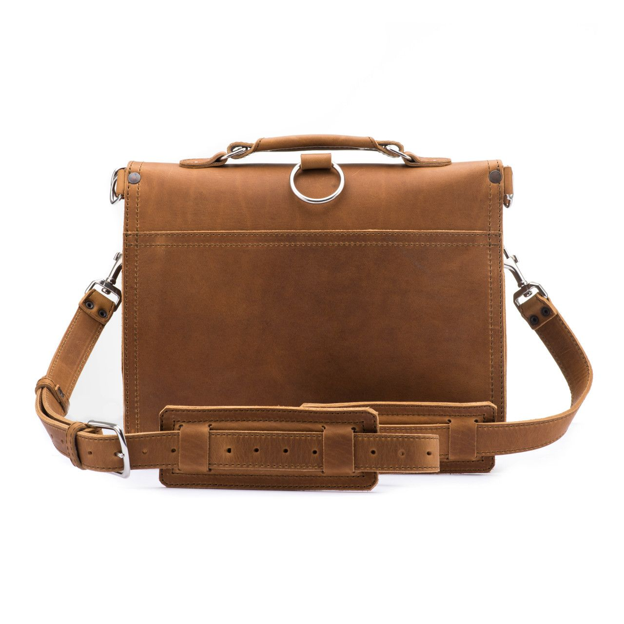 thin front pocket leather briefcase medium in tobacco leather