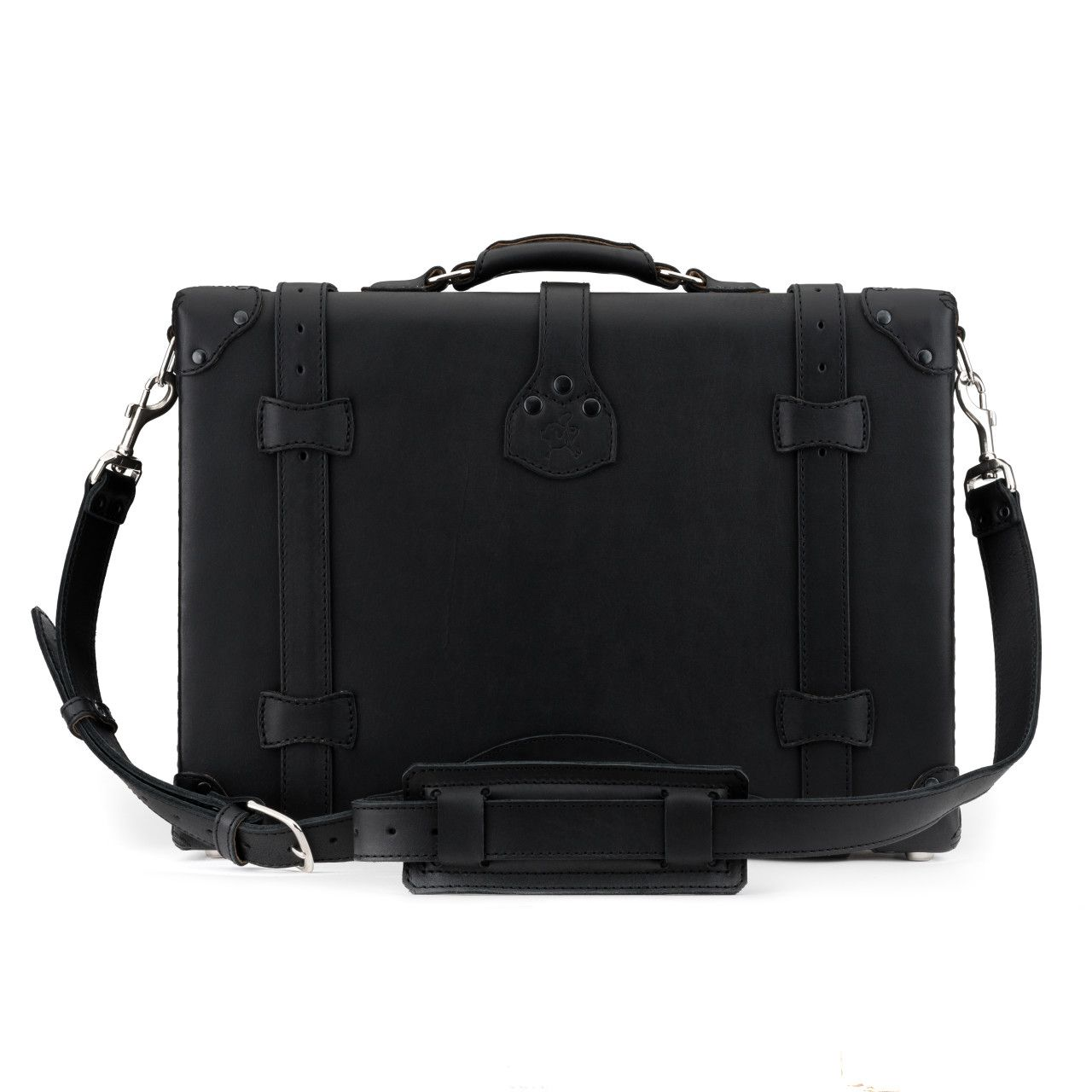 hard sided leather briefcase medium in black leather