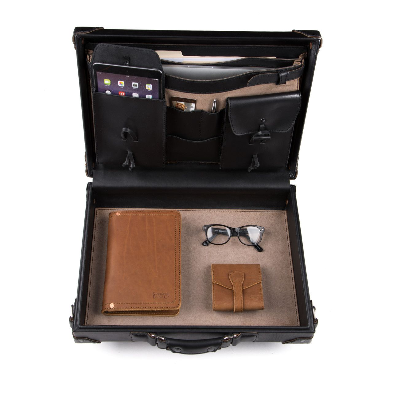 hard sided leather briefcase medium in black leather is great for office stuff