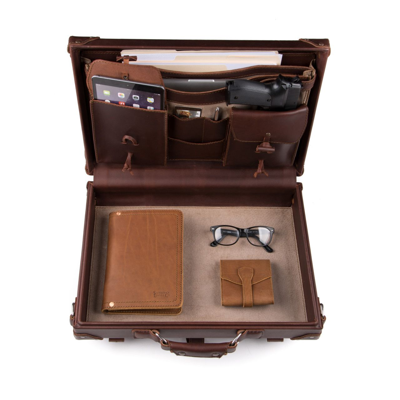 hard sided leather briefcase medium in chestnut leather is great for office stuff