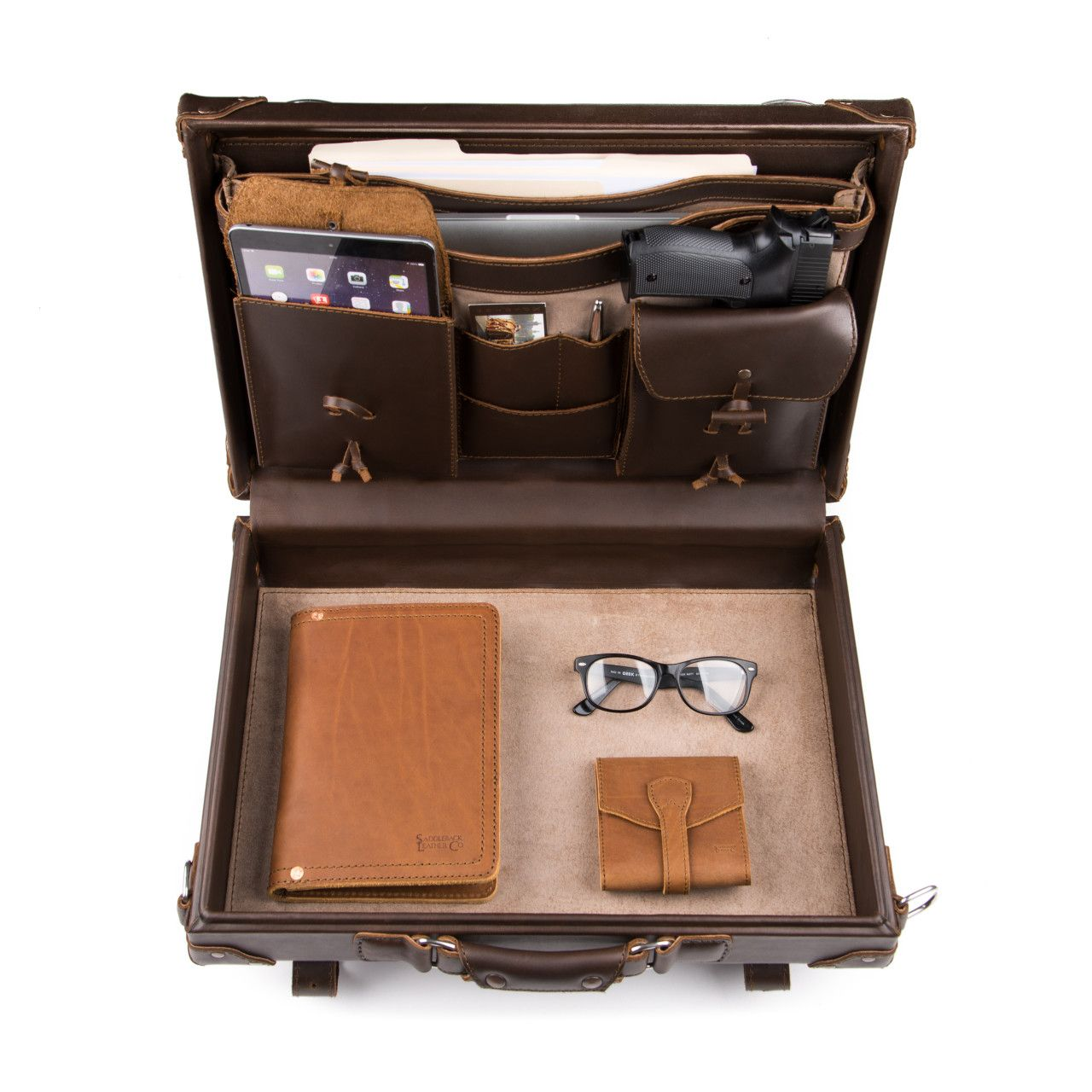 hard sided leather briefcase medium in dark coffee brown leather is great for office stuff