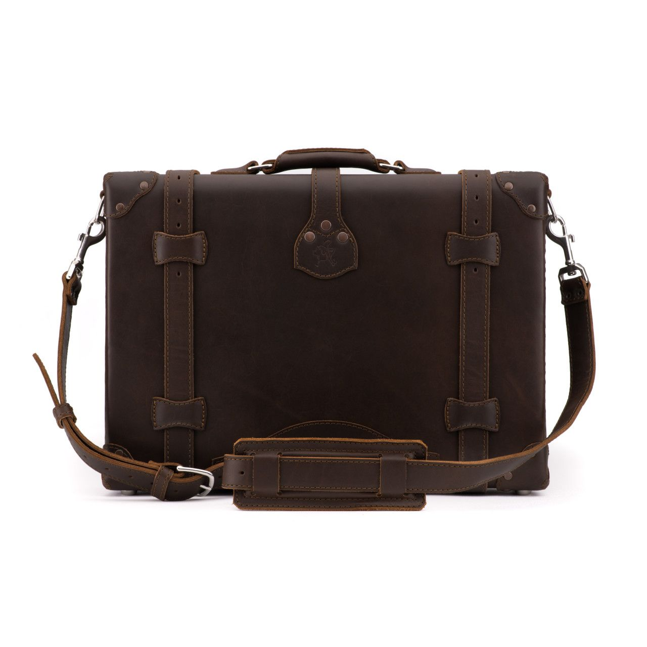 hard sided leather briefcase medium in dark coffee brown leather