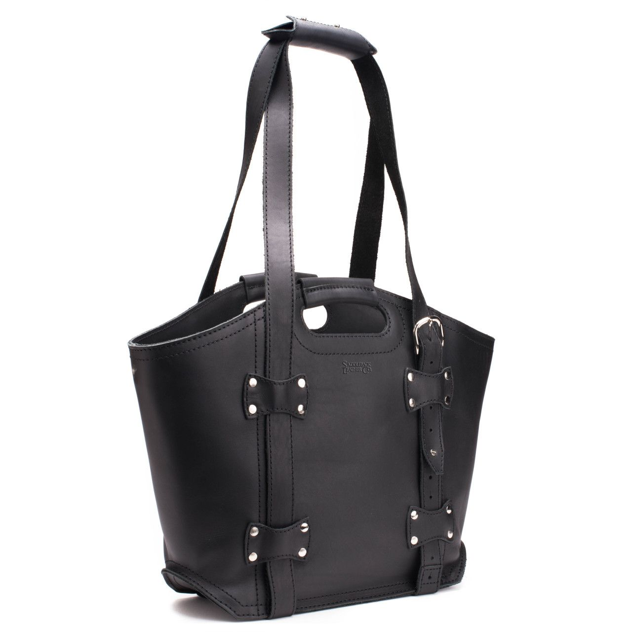 premium leather tote bag large in black leather