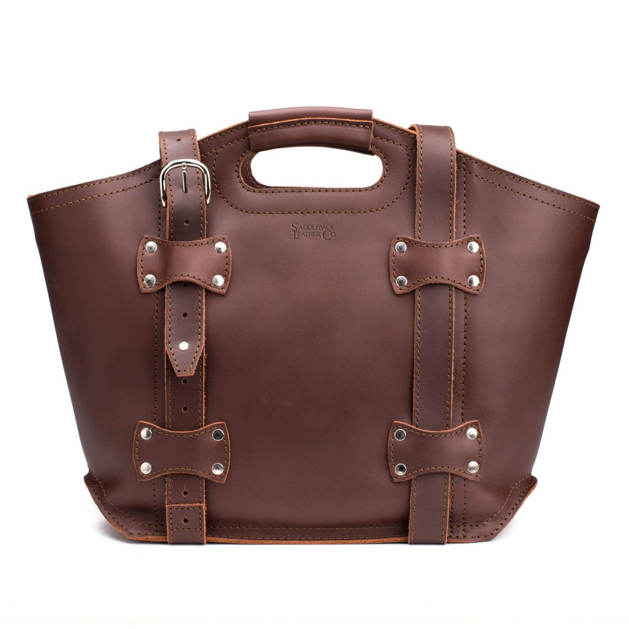 premium leather tote bag large in chestnut leather