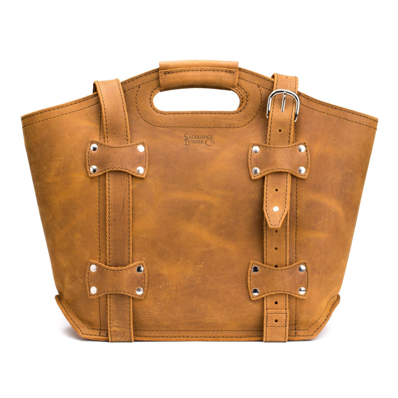 premium leather tote bag large in tobacco leather