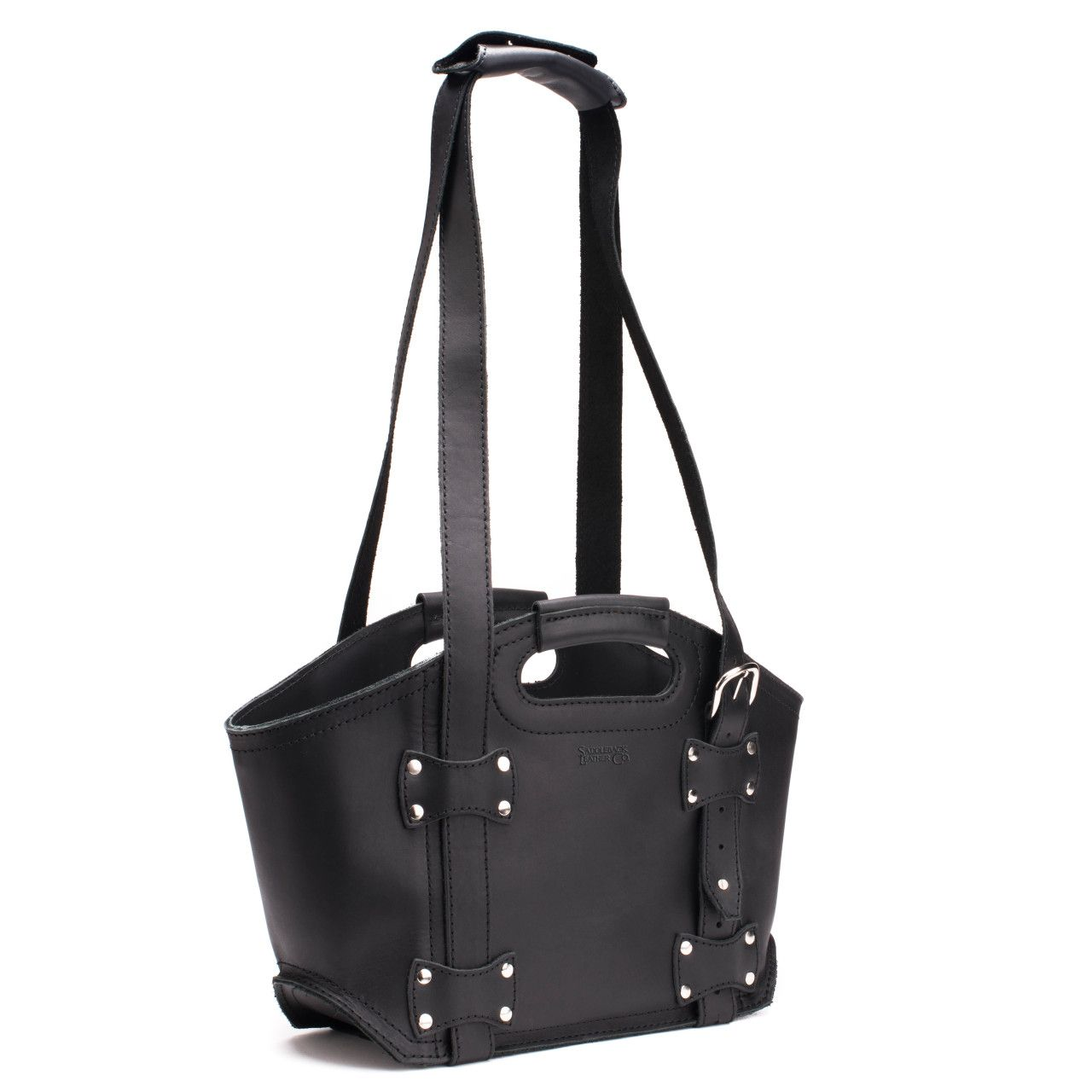 premium leather tote bag small in black leather