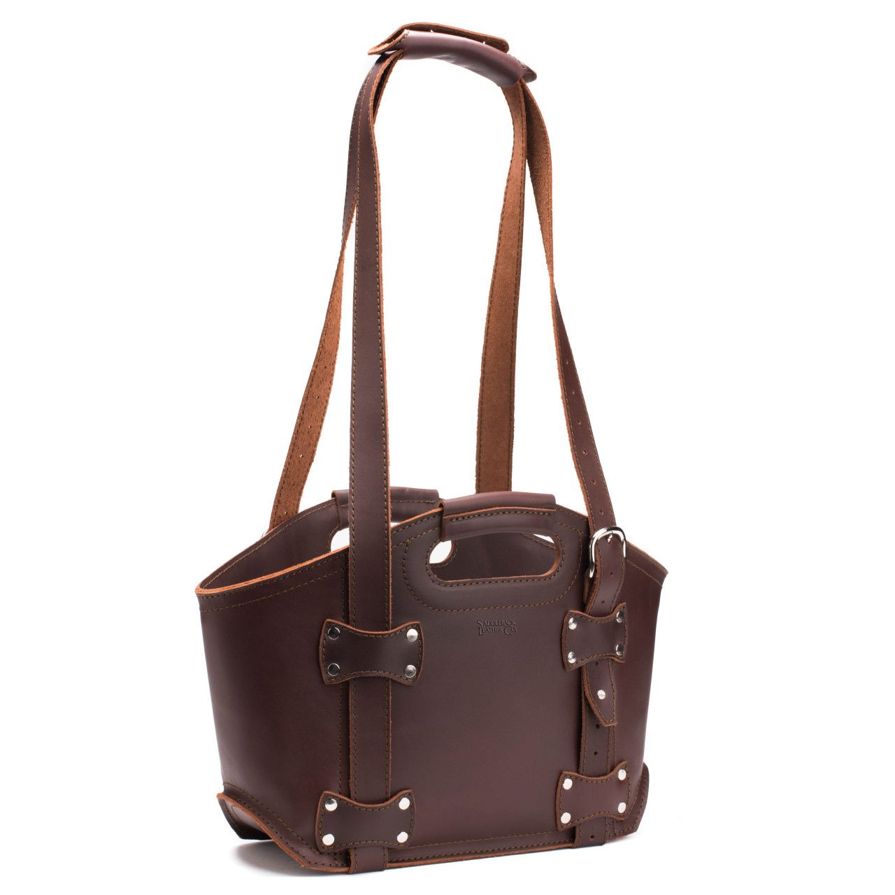 premium leather tote bag small in chestnut leather
