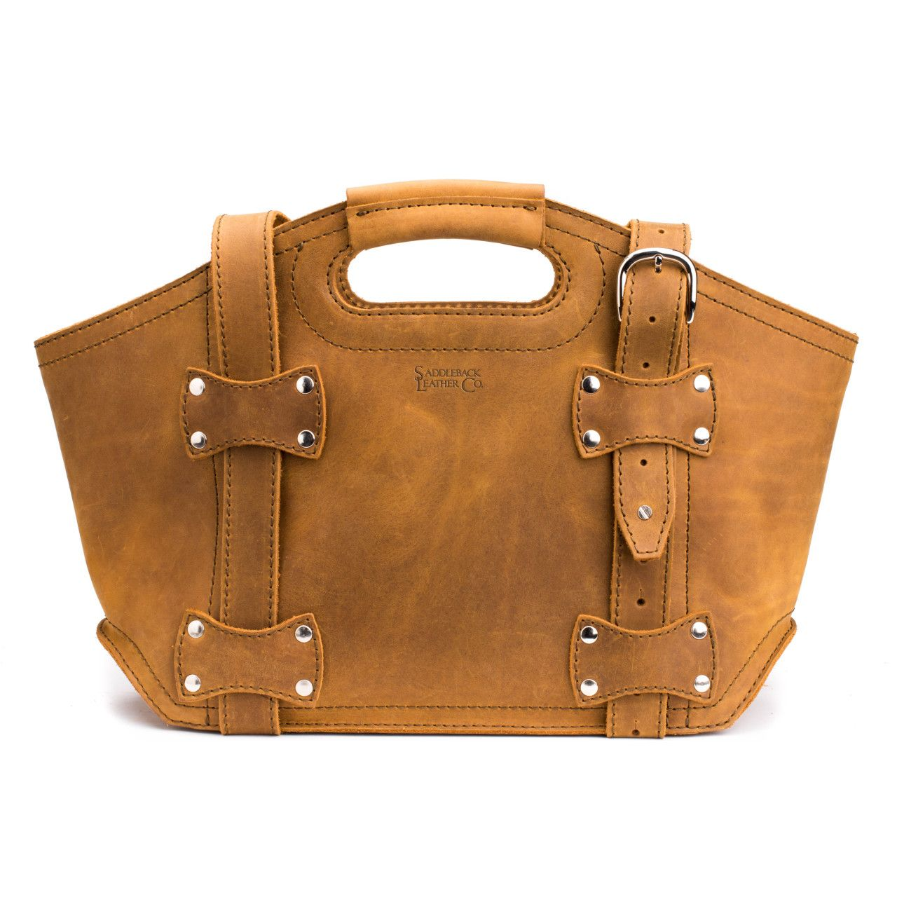 premium leather tote bag small in tobacco leather