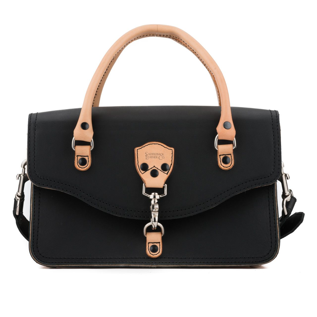 leather satchel purse in black leather
