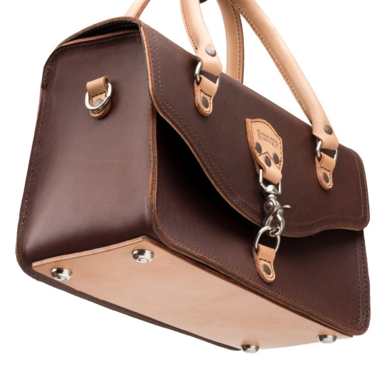 leather satchel purse in chestnut leather