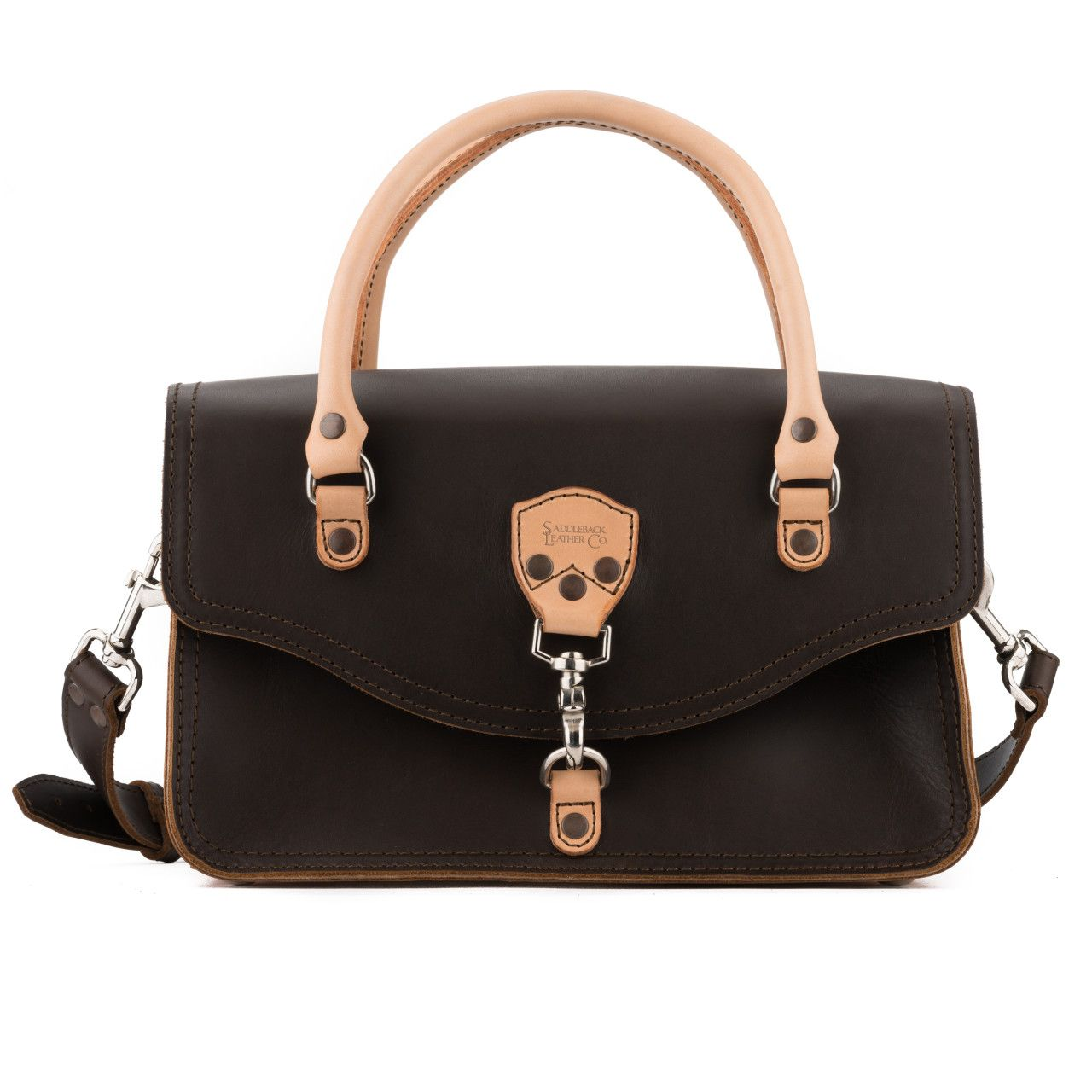 leather satchel purse in dark coffee brown leather