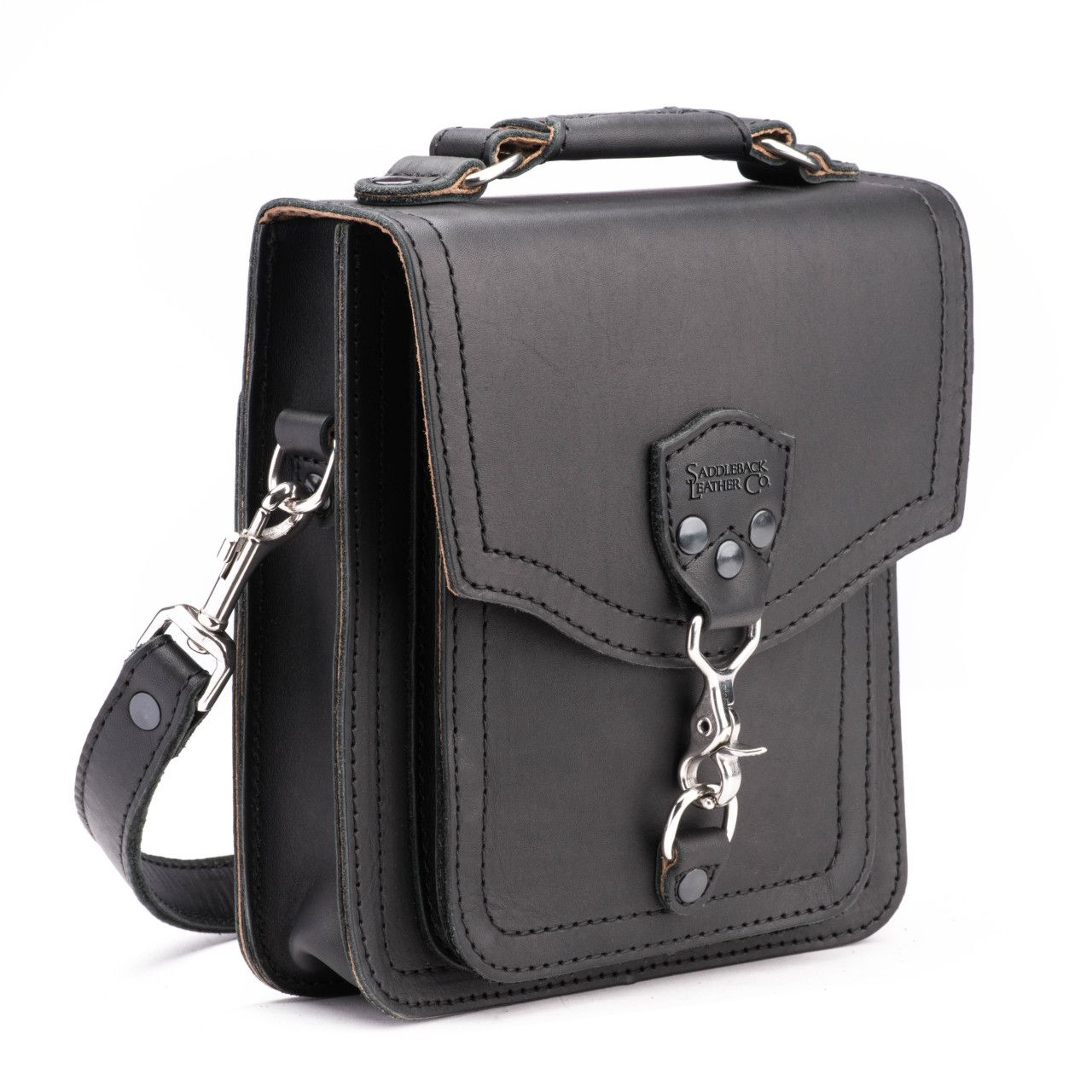 Leather front pocket pouch in the color black off center angle
