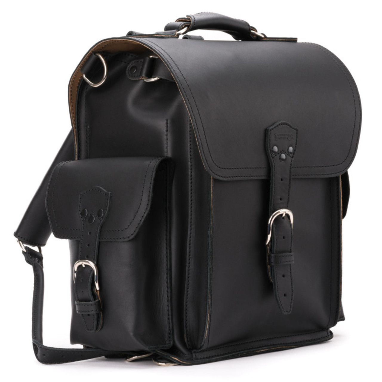 squared leather backpack in black leather