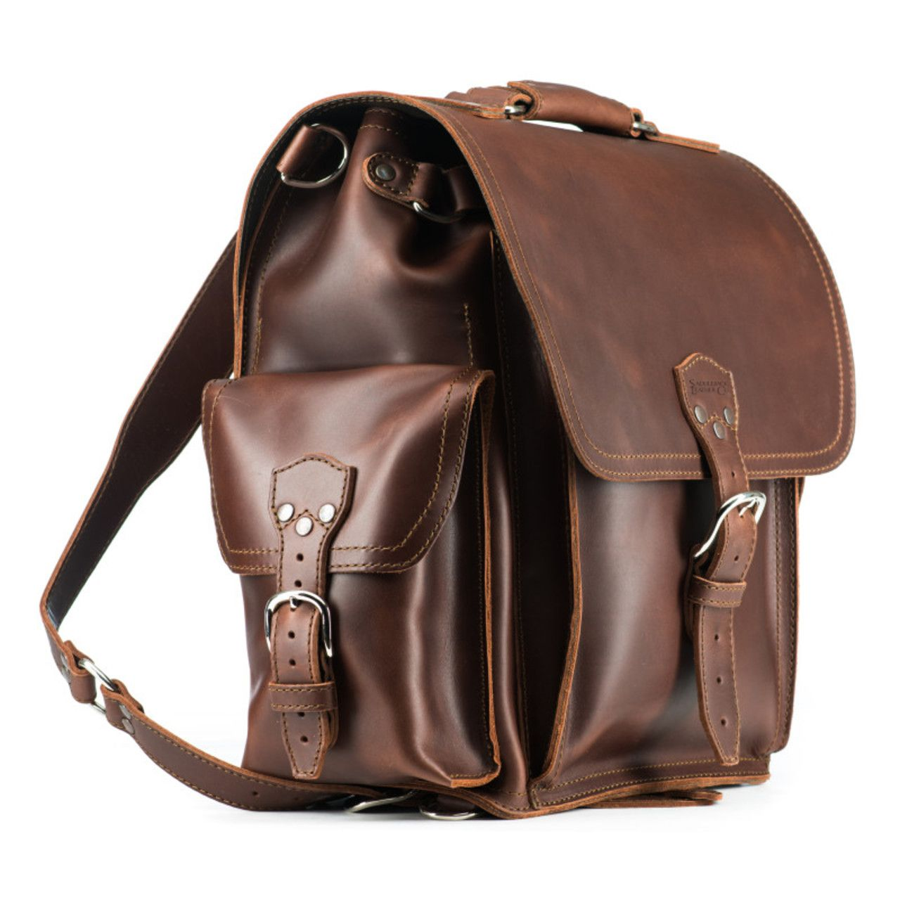 squared leather backpack in chestnut leather