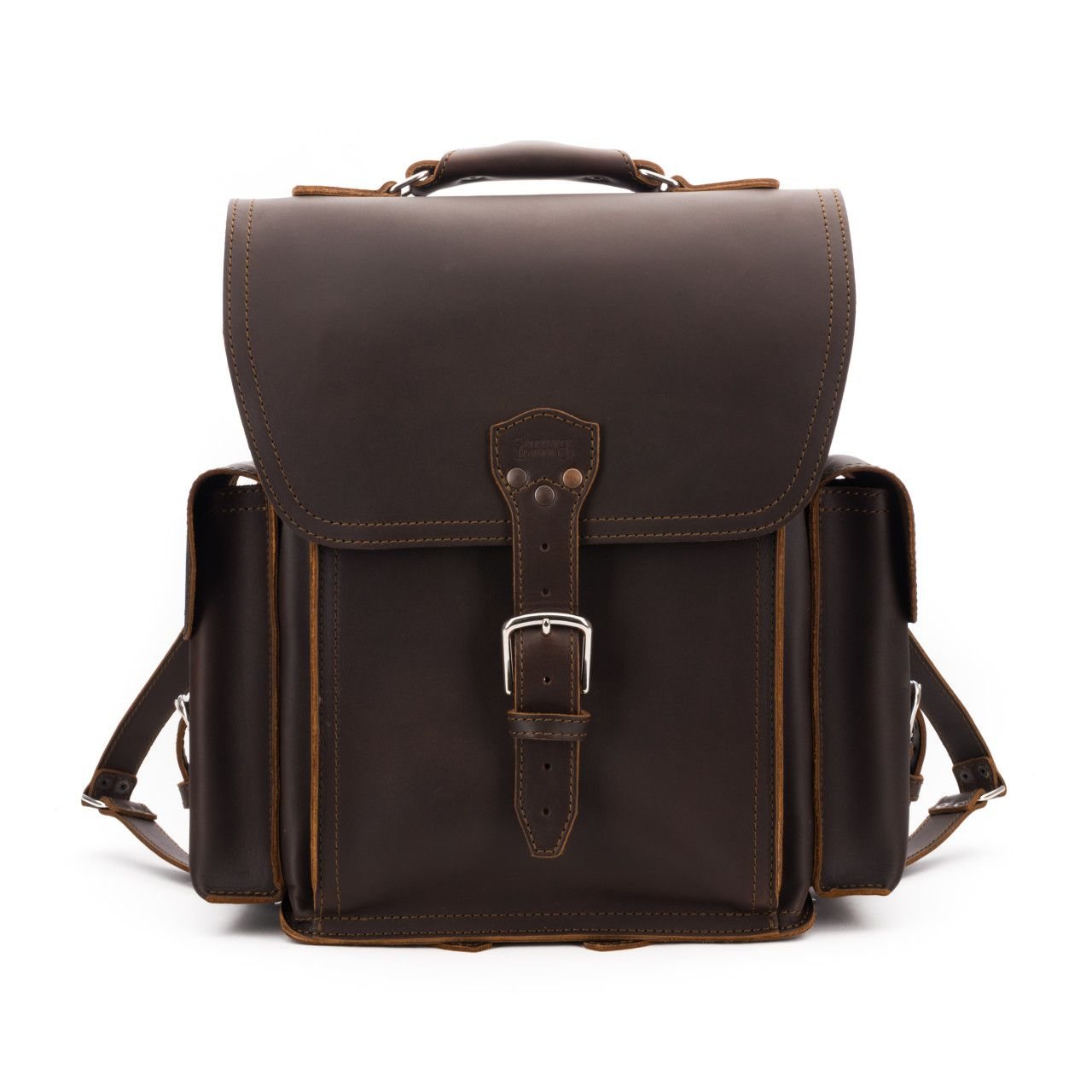squared leather backpack in dark coffee brown leather
