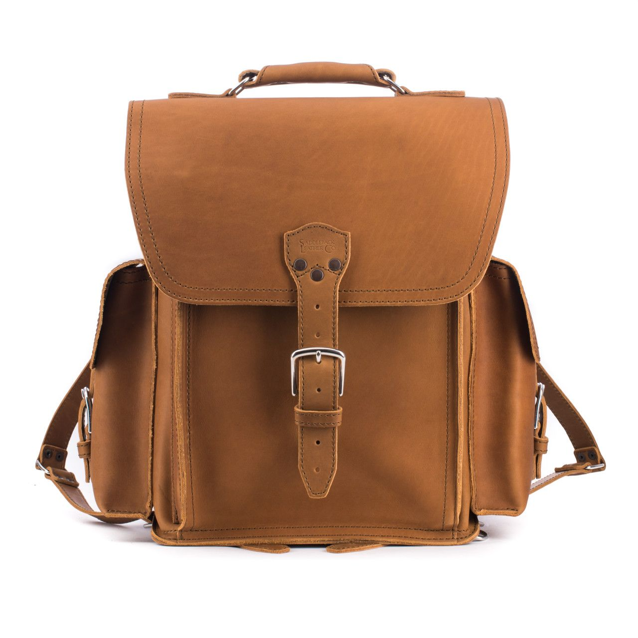 squared leather backpack in tobacco leather