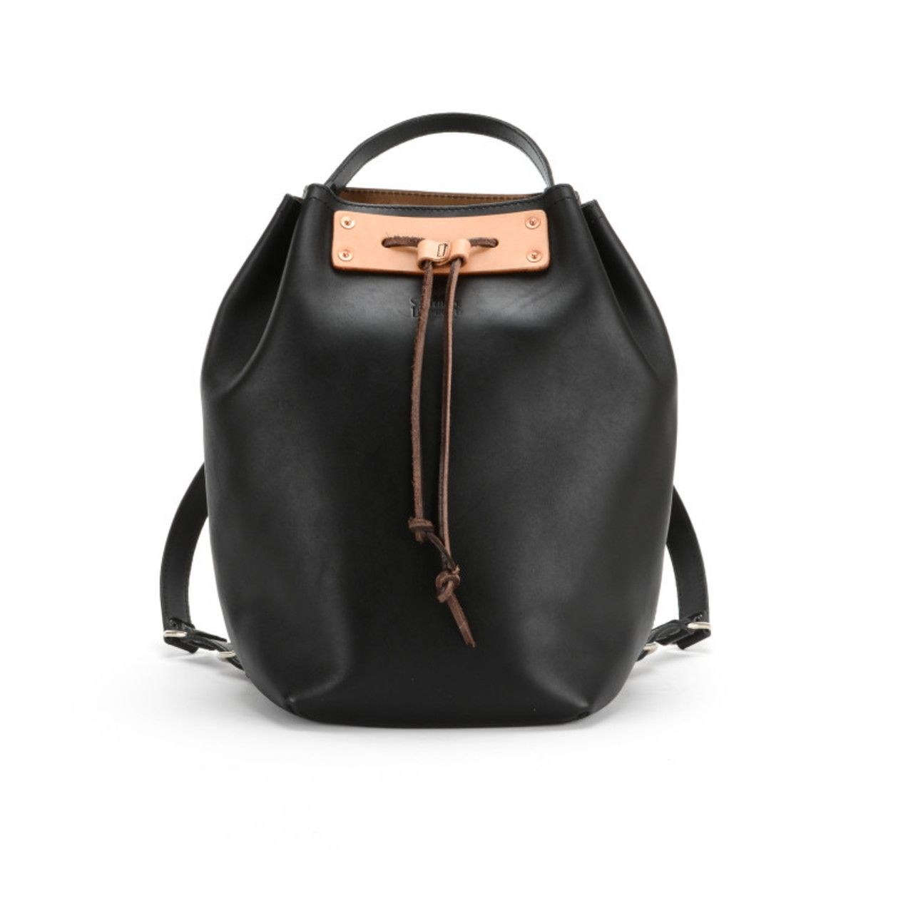bucket drawstring leather backpack in black leather