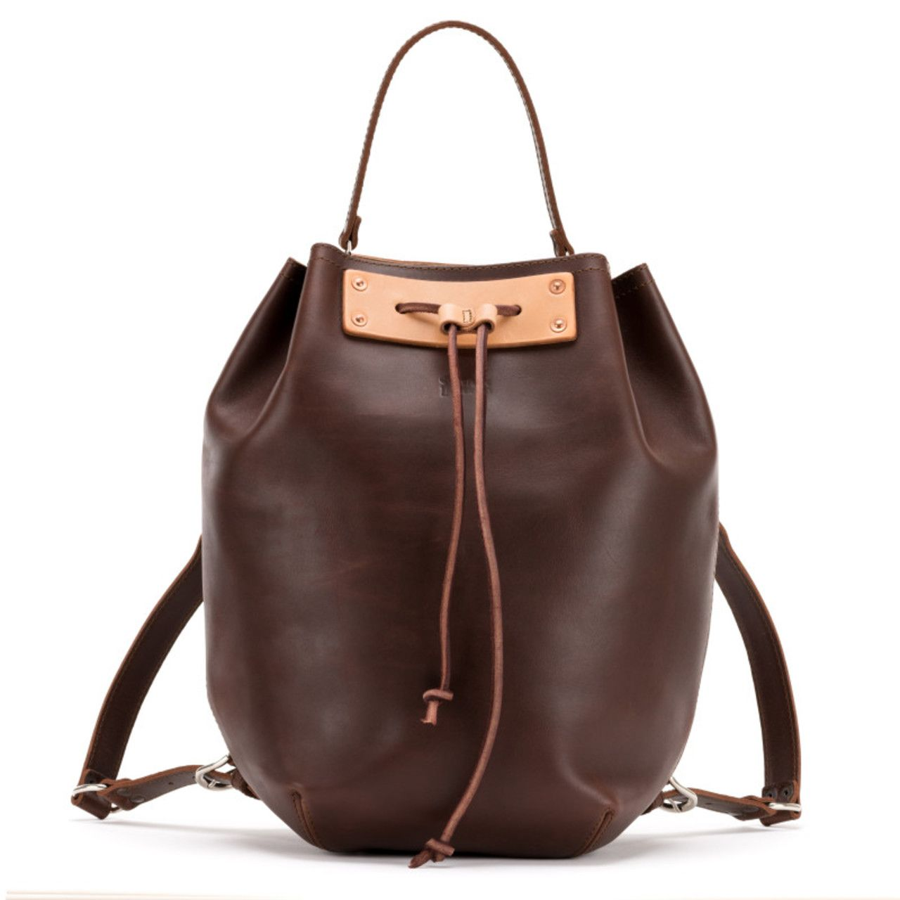 bucket drawstring leather backpack in chestnut leather