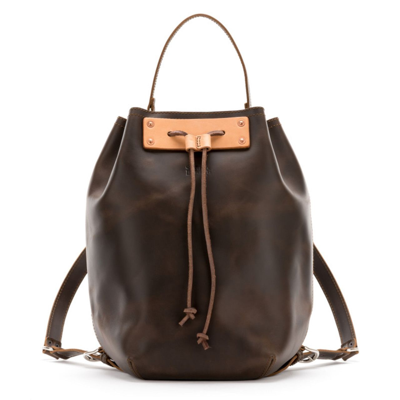 bucket drawstring leather backpack in dark coffee brown leather