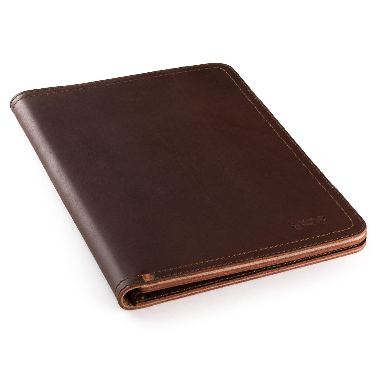 leather notepad cover medium in chestnut leather