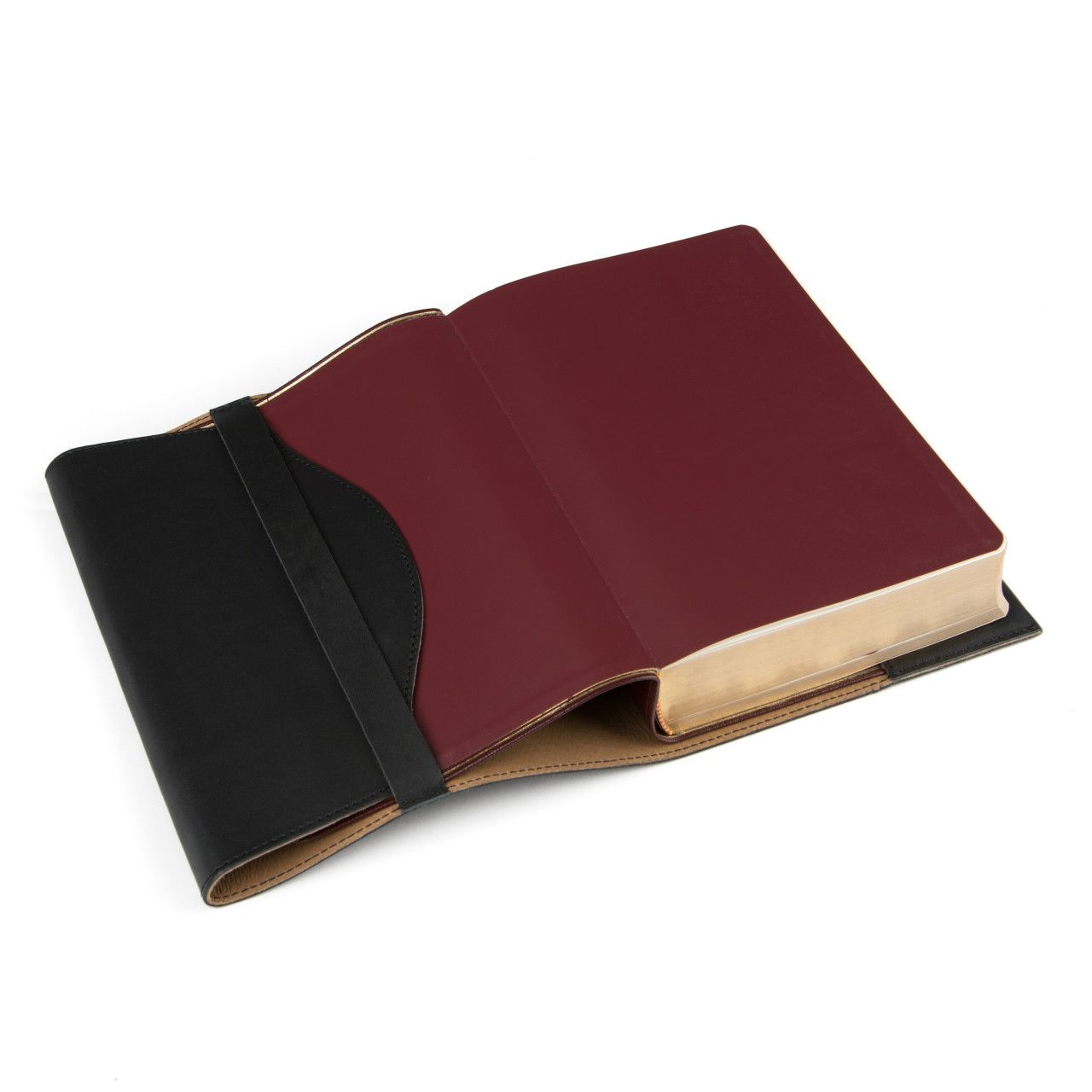 leather book cover large in black leather