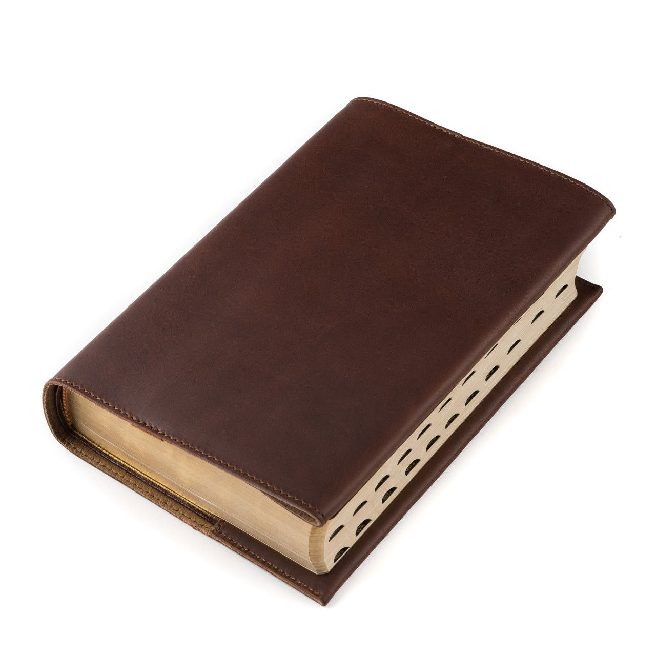 leather book cover large in chestnut leather
