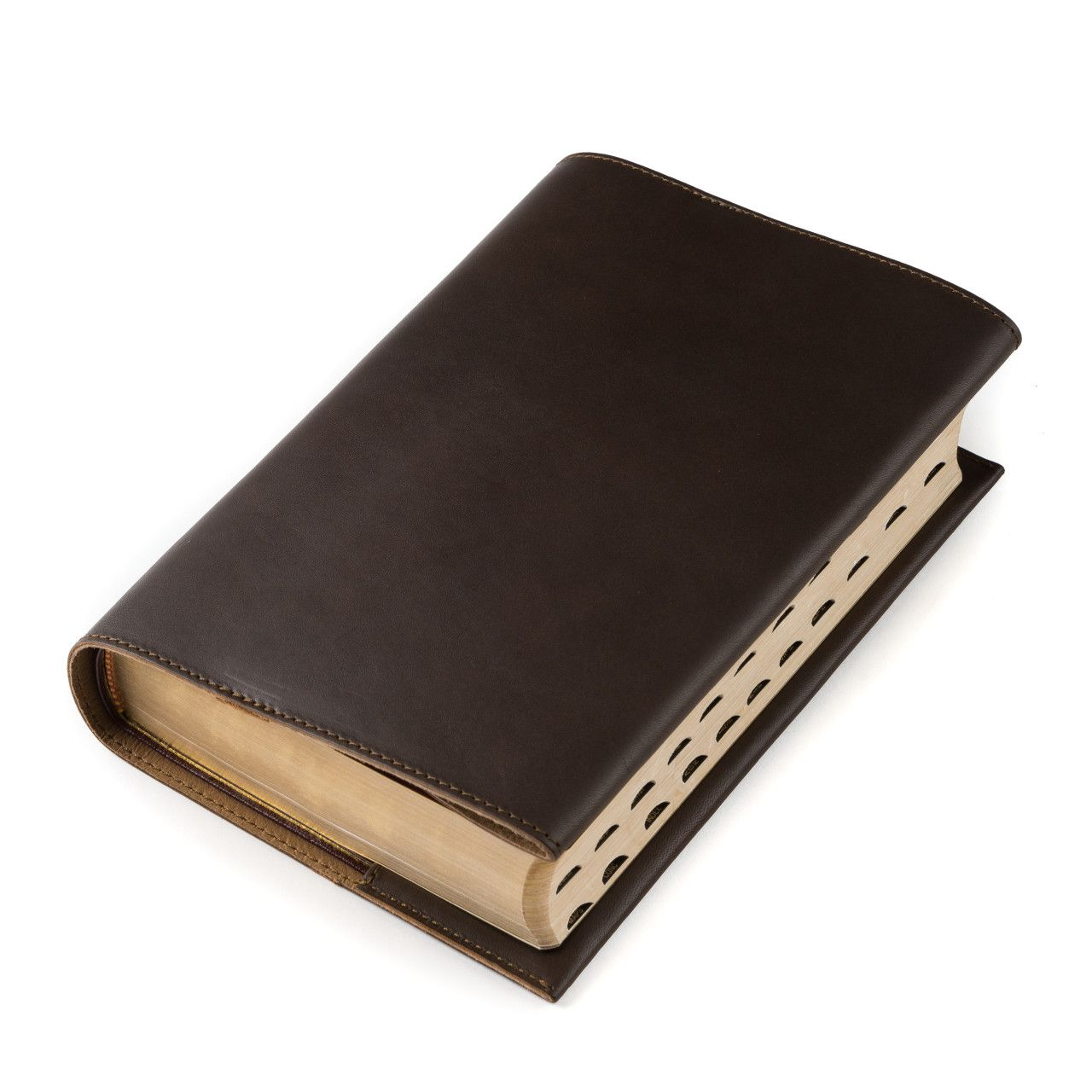 leather book cover large in dark coffee brown leather